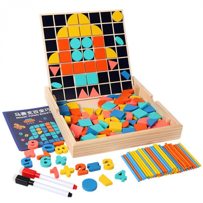 Set Mozaic 3 în 1 din lemn - Puzzle Mozaic tip Tangram, tablă de scris cu carioca lavabilă și joc de calcule matematice [0]