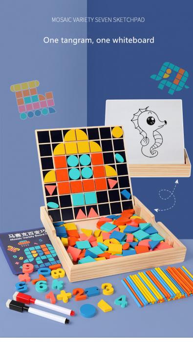 Set Mozaic 3 în 1 din lemn - Puzzle Mozaic tip Tangram, tablă de scris cu carioca lavabilă și joc de calcule matematice [6]