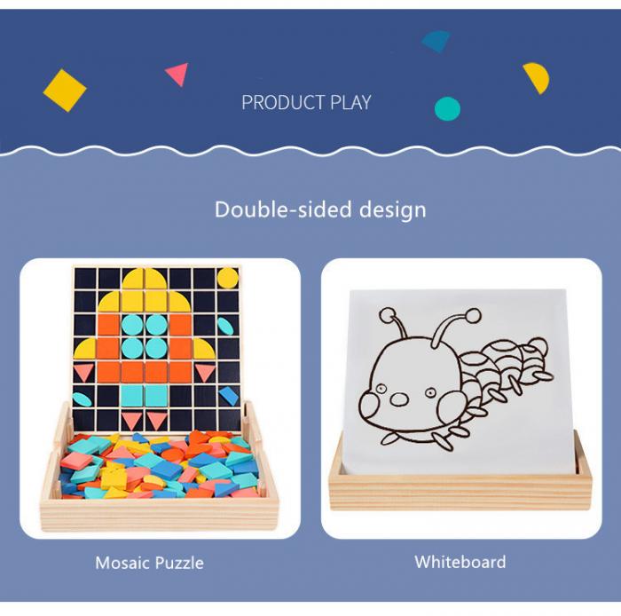 Set Mozaic 3 în 1 din lemn - Puzzle Mozaic tip Tangram, tablă de scris cu carioca lavabilă și joc de calcule matematice [4]