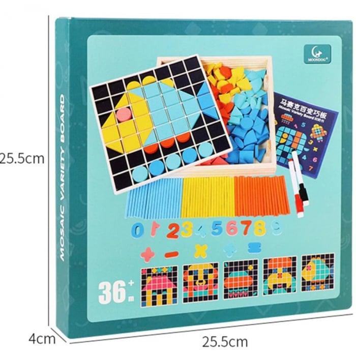 Set Mozaic 3 în 1 din lemn - Puzzle Mozaic tip Tangram, tablă de scris cu carioca lavabilă și joc de calcule matematice [3]