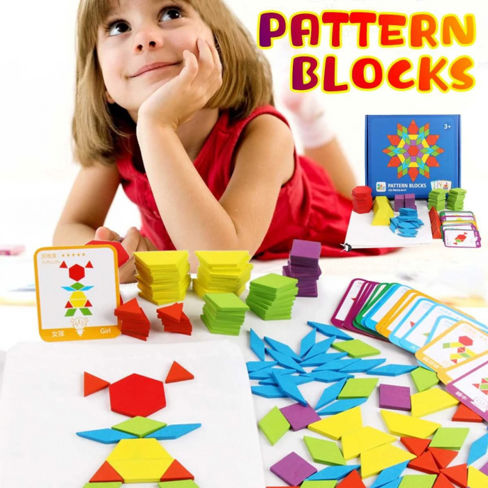 Joc tangram puzzle de tip Montessori din lemn - Pattern Blocks [1]