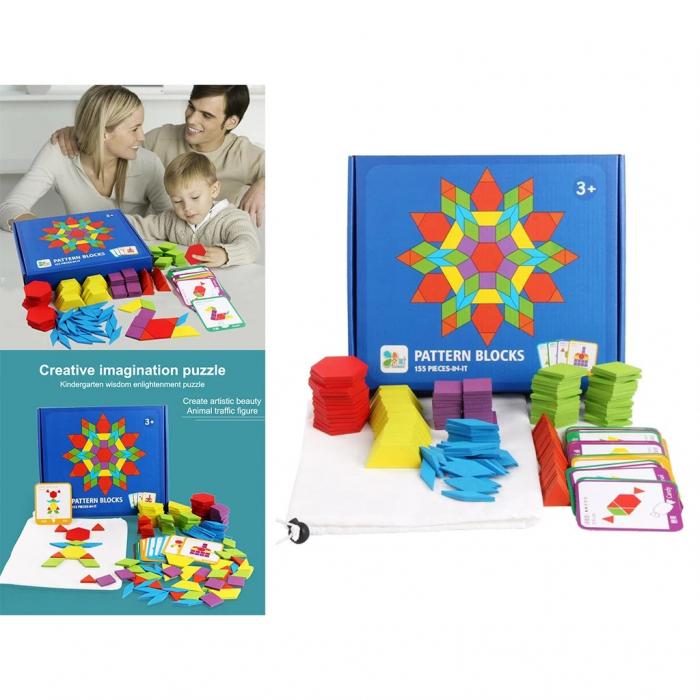 Joc tangram puzzle de tip Montessori din lemn - Pattern Blocks [3]