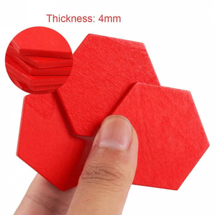 Joc tangram puzzle de tip Montessori din lemn - Pattern Blocks [8]