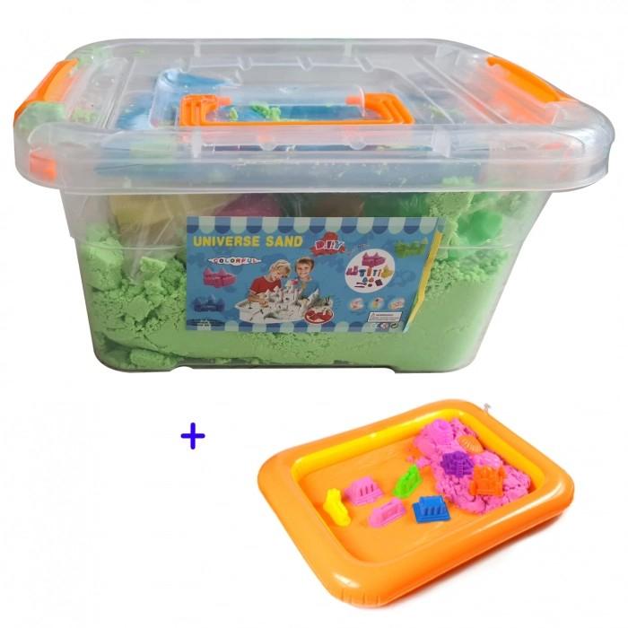 Set nisip kinetic, forme din plastic și tăviță gonflabilă - culoare verde [1]