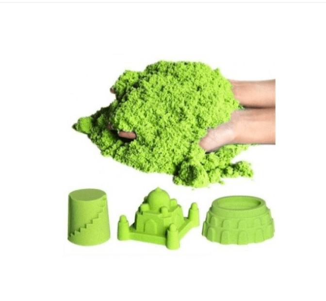 Set nisip kinetic, forme din plastic și tăviță gonflabilă - culoare verde [0]