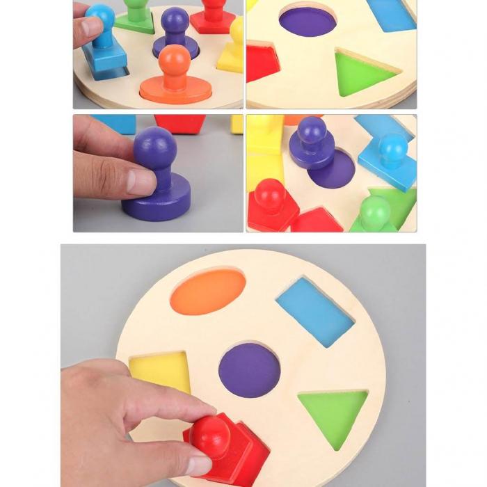 Puzzle incastru din lemn cu forme geometrice cu butoni tip ștampile [2]