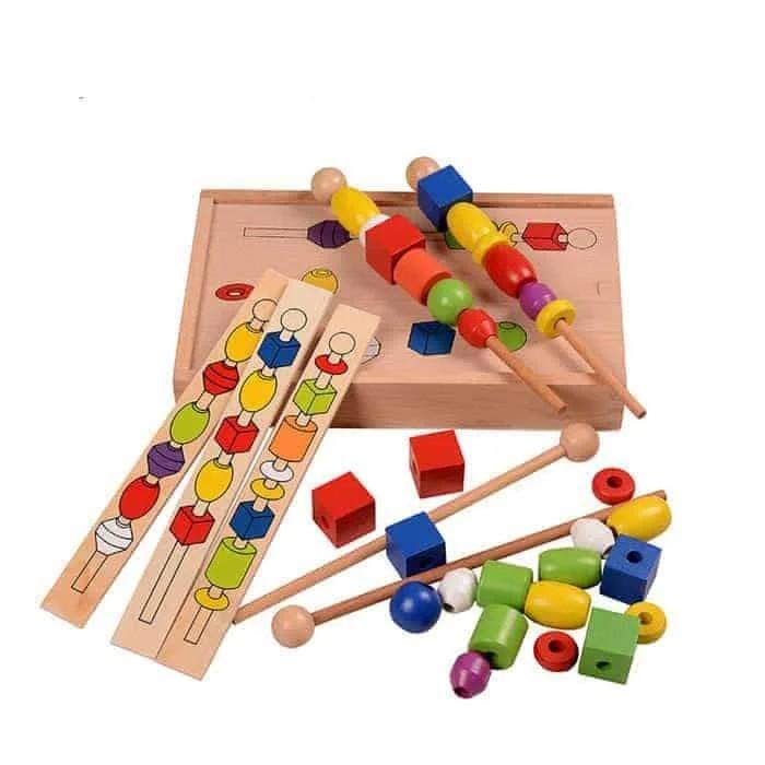 Joc Montessori din lemn de înșiruit mărgele pe băț - FRIGĂRUI- Beaded game box [3]