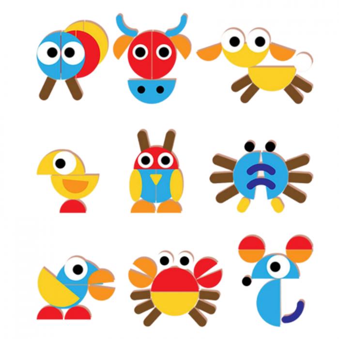 Puzzle Montessori distractiv de tip tangram ANIMALE - Montessori fun puzzle Animal [2]