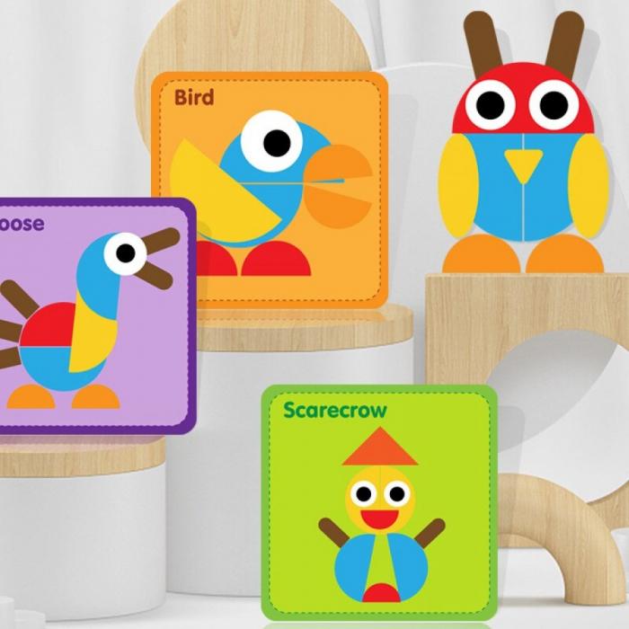 Puzzle Montessori distractiv de tip tangram ANIMALE - Montessori fun puzzle Animal [6]