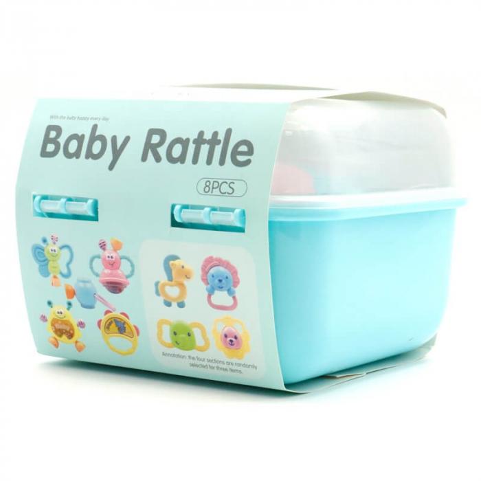 Set 8 jucării zornăitoare din plastic în cutie cu mâner culoare albastră [1]