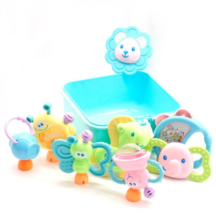 Set 8 jucării zornăitoare din plastic în cutie cu mâner culoare albastră [2]