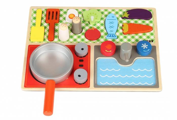 Set minibucătărie de jucărie din lemn tip puzzle Montessori KABI [0]