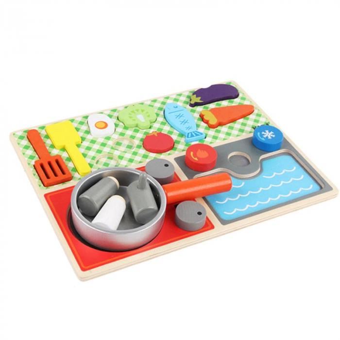 Set minibucătărie de jucărie din lemn tip puzzle Montessori KABI [2]