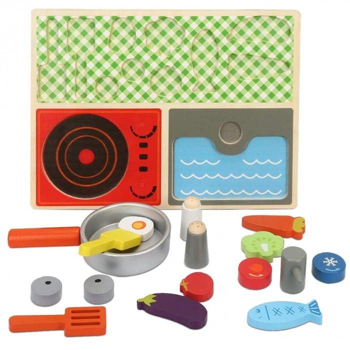Set minibucătărie de jucărie din lemn tip puzzle Montessori KABI [3]
