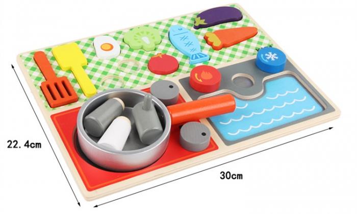 Set minibucătărie de jucărie din lemn tip puzzle Montessori KABI [4]