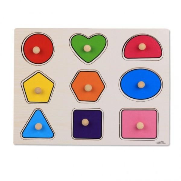 Puzzle incastru forme geometrice din lemn cu butoni [0]