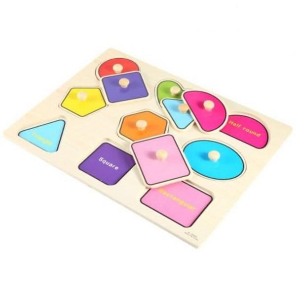 Puzzle incastru forme geometrice din lemn cu butoni [2]