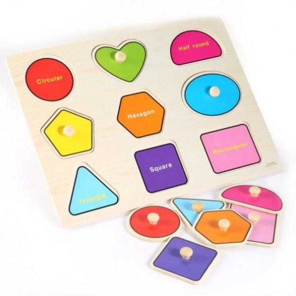 Puzzle incastru forme geometrice din lemn cu butoni [1]