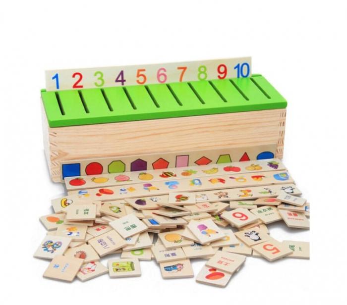 Joc Montessori de sortare și asociere imagini - Knowledge classification box [0]