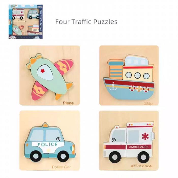 Set 4 puzzle din lemn în relief mijloace de transport TRAFFIC PUZZLES [2]