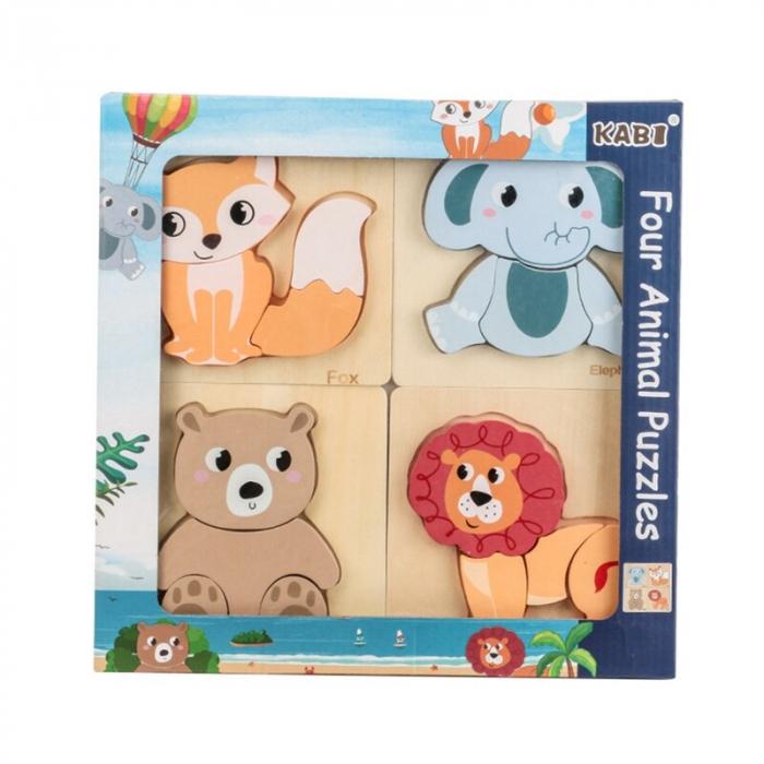 Set 4 puzzle din lemn în relief mijloace de transport  ANIMALE SĂLBATICE [0]