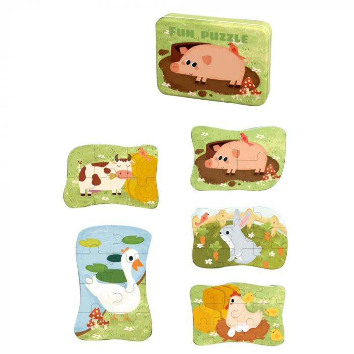 Puzzle în cutie metalică ANIMALE DOMESTICE - FUN PUZZLE [1]