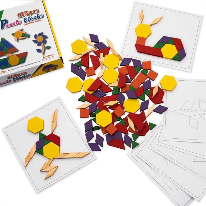Joc tangram din lemn 125 piese - Puzzle Blocks [1]