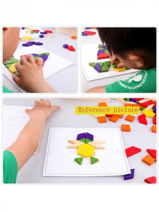 Joc tangram din lemn 125 piese - Puzzle Blocks [3]