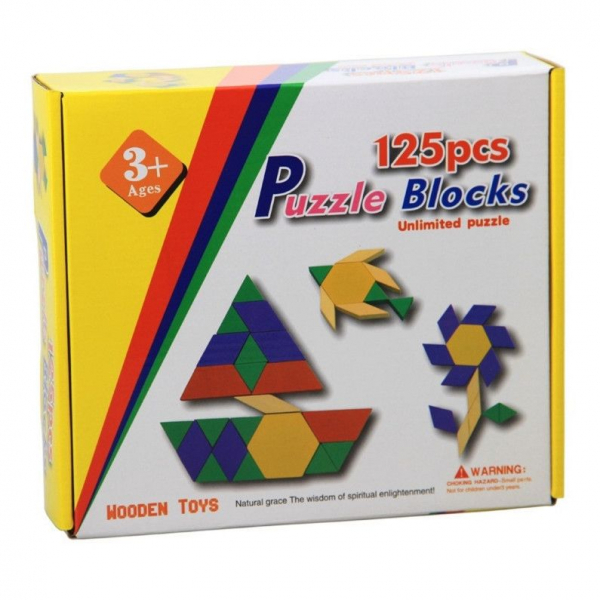 Joc tangram din lemn 125 piese - Puzzle Blocks [0]