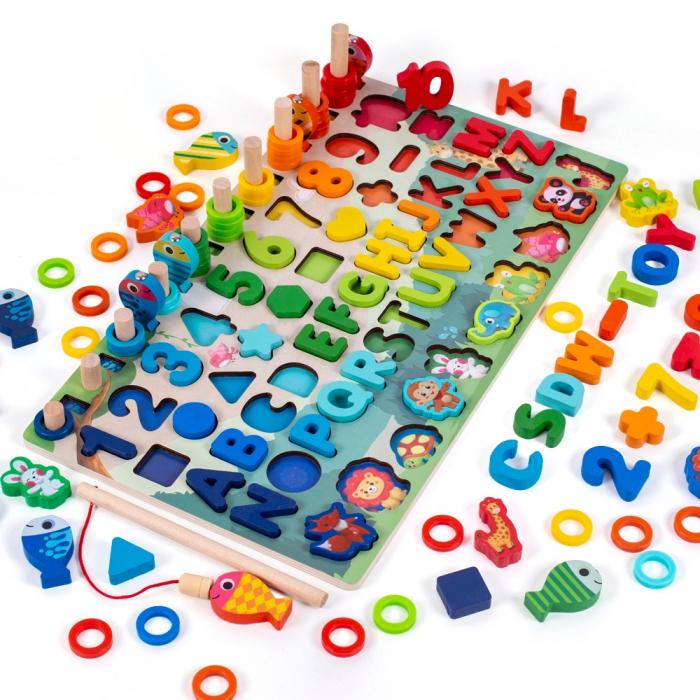 Jucărie multifuncțională din lemn PUZZLE 3D, JOC DE STIVUIT, JOC DE PESCUIT MAGNETIC - ANIMALE DIN PĂDURE [0]