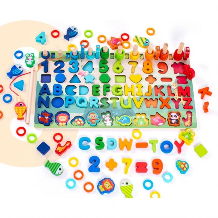 Jucărie multifuncțională din lemn PUZZLE 3D, JOC DE STIVUIT, JOC DE PESCUIT MAGNETIC - ANIMALE DIN PĂDURE [1]