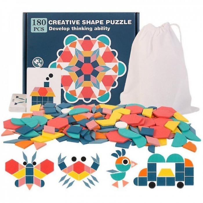 Joc tangram din lemn 180 piese - Creative shape puzzle [1]