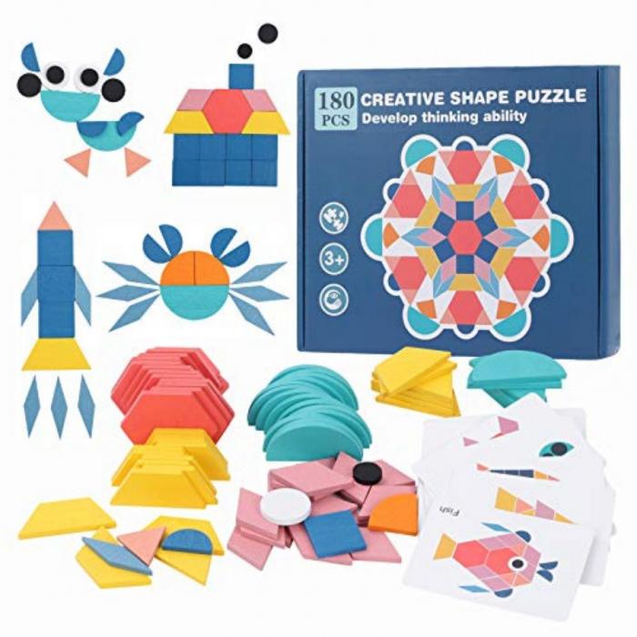 Joc tangram din lemn 180 piese - Creative shape puzzle [0]