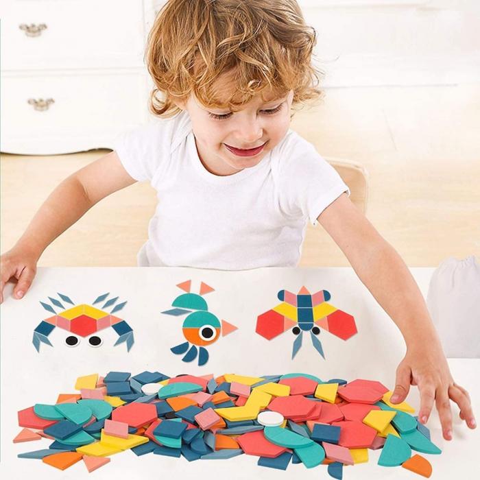 Joc tangram din lemn 180 piese - Creative shape puzzle [3]