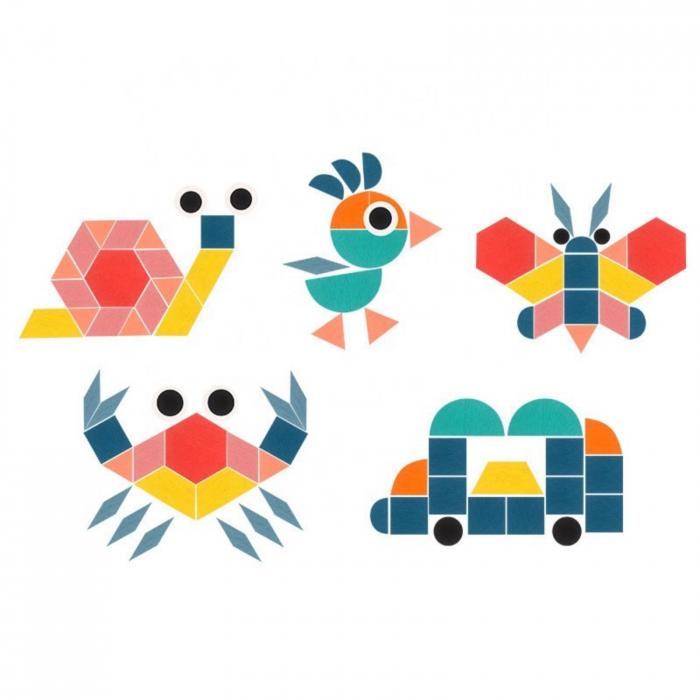 Joc tangram din lemn 180 piese - Creative shape puzzle [5]