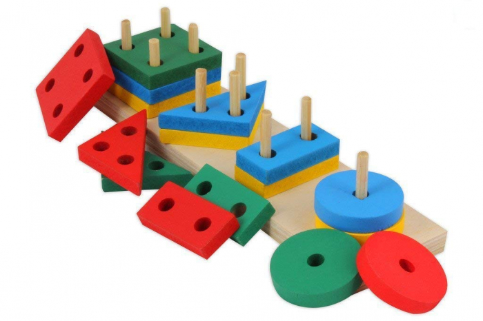 Joc de tip Montessori - Sortator cu 4 forme geometrice - Geometric Sorter [1]