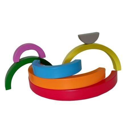 Jucărie Montessori din lemn CURCUBEU - Rainbow Building Blocks [1]