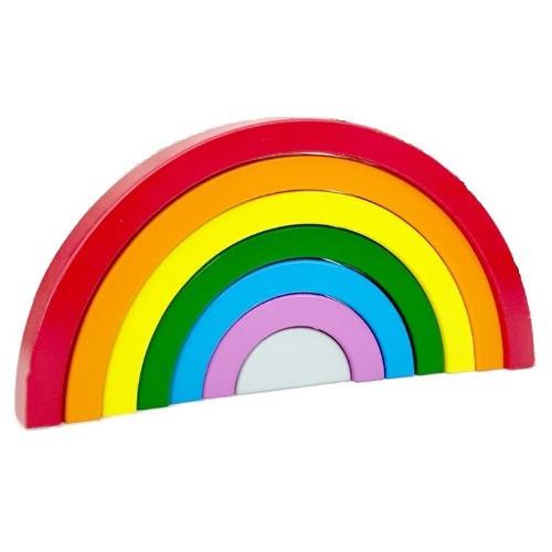 Jucărie Montessori din lemn CURCUBEU - Rainbow Building Blocks [2]
