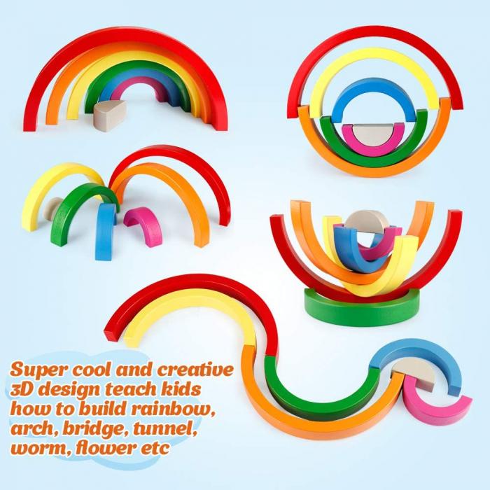 Jucărie Montessori din lemn CURCUBEU - Rainbow Building Blocks [4]