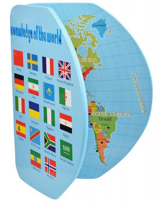 Harta lumii din lemn cu țări și steaguri [5]