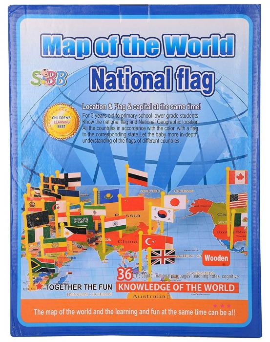Harta lumii din lemn cu țări și steaguri [7]
