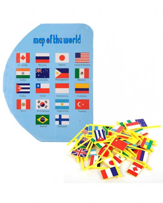 Harta lumii din lemn cu țări și steaguri [1]