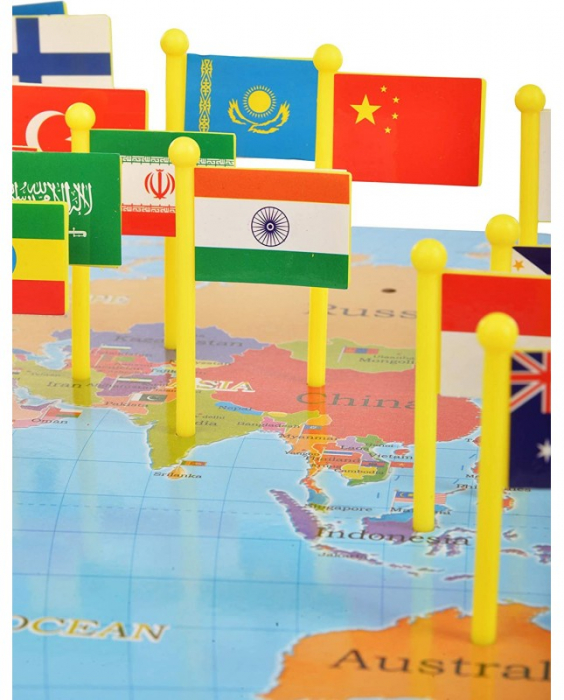 Harta lumii din lemn cu țări și steaguri [4]