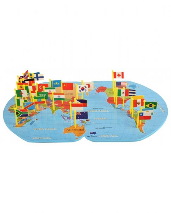 Harta lumii din lemn cu țări și steaguri [2]