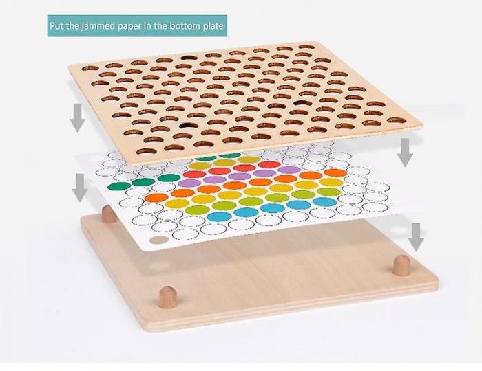 Jucărie din lemn de tip Montessori de îndemânare și asociere cu bile colorate BEAD HOLDER [4]