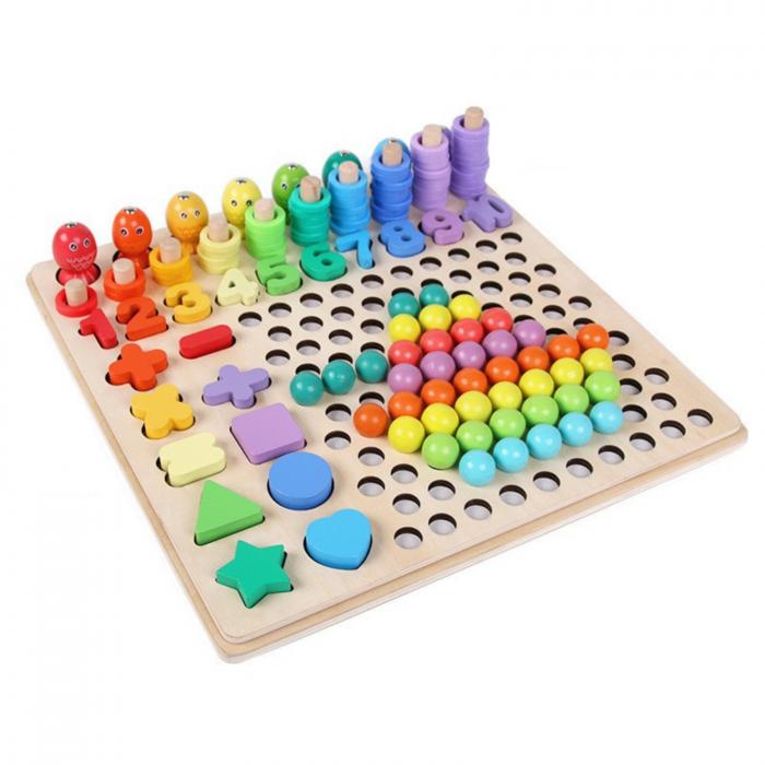 Jucărie din lemn multifuncțională de tip Montessori PUZZLE 3D, JOC DE STIVUIT, JOC DE PESCUIT MAGNETIC și JOC DE ASOCIERE CU BILE - Logarithmic plate with beads [1]