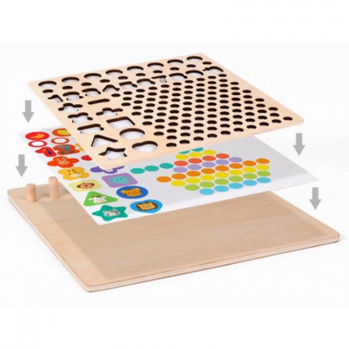Jucărie din lemn multifuncțională de tip Montessori PUZZLE 3D, JOC DE STIVUIT, JOC DE PESCUIT MAGNETIC și JOC DE ASOCIERE CU BILE - Logarithmic plate with beads [2]