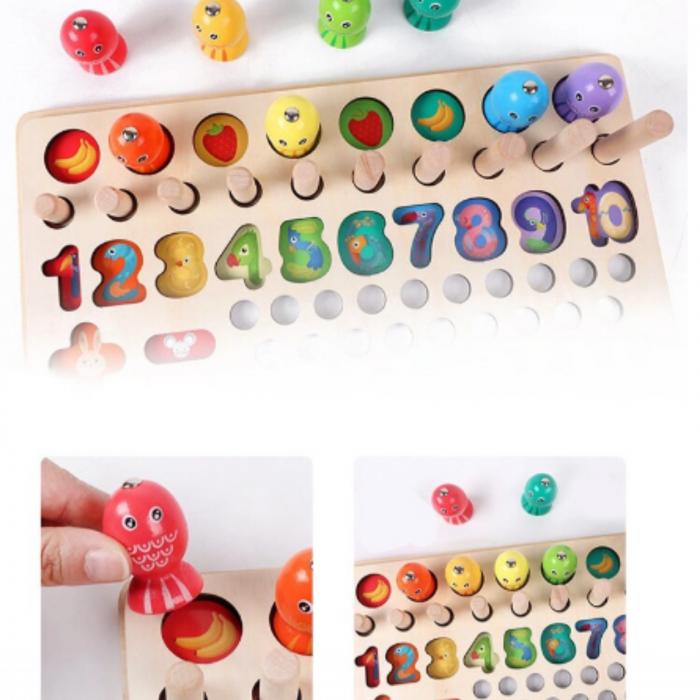 Jucărie din lemn multifuncțională de tip Montessori PUZZLE 3D, JOC DE STIVUIT, JOC DE PESCUIT MAGNETIC și JOC DE ASOCIERE CU BILE - Logarithmic plate with beads [5]