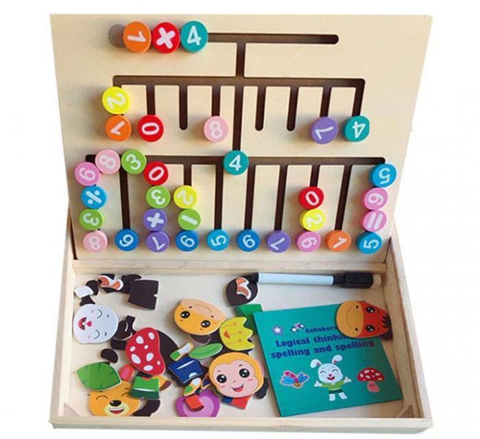 Jucărie educativă 2 în 1- tablă magnetică şi labirint cifre şi operaţii matematice [0]