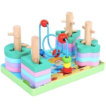 Jucărie multifuncţională din lemn cu 4 coloane sortator forme geometrice şi spirală motrică cu mărgele [0]